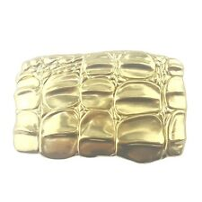 Rectangular shape buckle with alligator skin molded on the buckle.