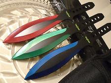 "Perfect Point 3 Color Titanium Triple Throwing Knife/Knives Dagger Set Large 9"""