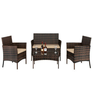 2pcs Arm Chairs 1pc Love Seat Tempered Glass Coffee Table Rattan Sofa Set BR