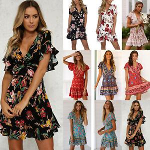 Women Boho Floral Short Sleeve V Neck Mini Dress Summer Holiday Wrap Sundress AU