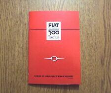 Manuale uso e manutenzione Fiat Nuova 500 N dal 1957 al 1960 Owner's manual-