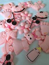 10 x BABY GIRL BABIES PINK RESIN FLAT BACKS HAIR EMBELLISHMENTS CAKE pink