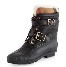 Burberry NIB Black Sherpa Windmere Check Weather Rain Polo Boot Women's 7 37 7.5