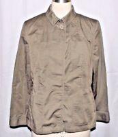 Talbots Blouse Olive Green Cotton Spandex Long Sleeve Top Shirt Sz 14P