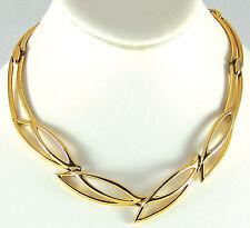 "Art Deco Style Necklace Unique Stylized Leaf Filigree Goldtone Choker 16""Vintage"