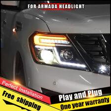For Nissan Armada Headlight assembly Bi-Xenon Lens Double Beam HID KIT 2017-2018
