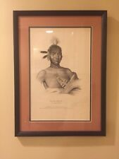 Moa Na Hon Ga,  Ioway Chief (ca 1836) Uncolored litho Rare proof copy Framed DL