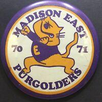 Vtg LARGE Pinback Button 70-71 Madison East Wisconsin Purgolders Cat Purple