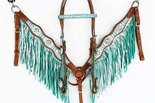 TEAL WESTERN LEATHER BLING FRINGE BRIDLE HEADSTALL BREASTCOLLAR HORSE TACK SET