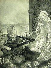 Sulamith Wulfing 1932 OUD LUTE MUSIC SONG SERENADE BOY & GIRL Art Print Matted
