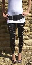 Collant/legging halloween, aspect humide, déchiré, noir, haute qualité