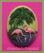 2 PINK FLAMINGOS PALM TREES 3D on Green 40mm x 30mm Costume Jewelry Craft CAMEOS