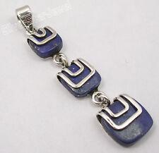 925 Solid Silver Collectible Lapis Lazuli Vintage Style Long Pendant 5 Cm Bijoux