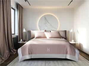 Egyptian Cotton Luxury Bedding Set Letter Embroidery Duvet Cover Flat Sheet