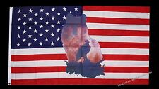 Flagge Fahne USA+Wolf+Adler 90x150 cm Ösen Sturmflagge Country Kraft Tier Deko