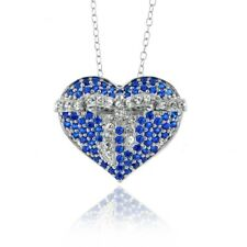 925 Sterling Silver Lab Created Sapphire Heart Necklace