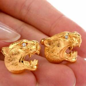 Gorgeous Panther Face Design With CZ Eyes In Pure 10k Yellow Gold Fine Cufflinks