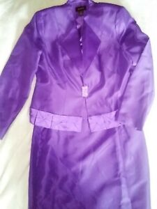 Ashro Purple Skirt Suit with Rhinestone Closure & Modest Panel Women's Size 14