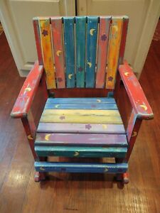 """Vintage Child's Rocking Chair Hand Painted Wood Mulit Color 22"""" x 18"""" x 25"""