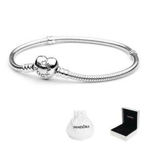 Genuine Pandora Moments Heart Clasp Charm Snake Chain Bracelet Sterling Silver q