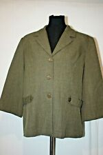 SWEET SUIT Olive Green 3 Button Career Wear Blazer Jacket Sz 16 Shoulder Pads