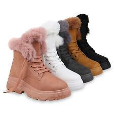 Damen Plateau Boots Warm Gefütterte Stiefelette Kunstfell Schnürer 832640 Schuhe
