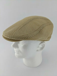 FEINION Men Mesh Newsboy Cap Flat Cabbie Driving Hat - Khaki Size 7-3/8 59cm M/L