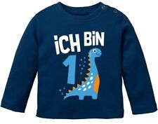 Baby Langarm-Shirt 1. Geburtstag Spruch Ich bin 1 Dinosaurier Dino