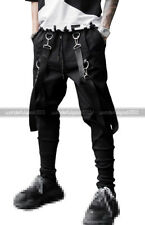 Women Double Strap Street Mens Black Cargo Jogger Jersey Sweat Pants With Pocket