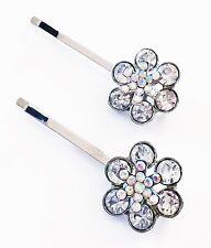 USA Bobby Pin using Swarovski Crystal Hair Clip Bridal Wedding Flower Silver 02