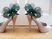"""Bridal Peacock Feathers Butterfly Blue Green Shoe Clips """"Sophia"""" 1 x PAIR"""