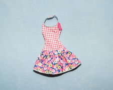 SWEET! Pink & White Plaid w/ Floral Print Genuine BARBIE Sleeveless Summer Dress