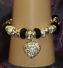 New 925 Sterling Silver Filled and Black Crystal Fashion Charm Bracelet