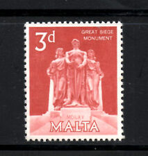 (Ref-5988) Malta 1962 3d Red Great Siege Monument  SG.308  Mint (Hinged)