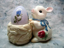 Lenox Collectible Poppies on Blue Ceramic Pig candle holder with Ceramic Egg