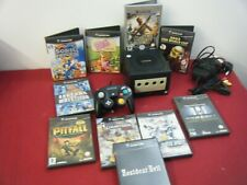 RETRO BLACK NINTENDO GAME CUBE BUNDLE CONSOLE CONTROLLER LEADS AND 10 GAMES