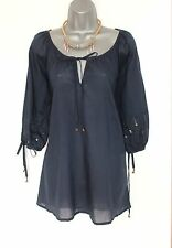 MONSOON Navy Cotton Blend Embellished 3/4 Sleeves Tie Neck Kaftan Tunic Top S