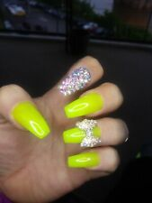 Neon yellow bling coffin Nail w/ bow press on nails kylie Any Shape