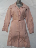 VINTAGE 1960 PALE PINK LINEN LOOK DRESS - SECRETARY STYLE