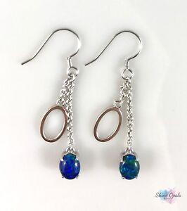Genuine Hoop Triplet Opal Earrings 8x6mm Sterling Silver Dangle Drop Hook
