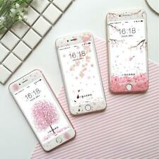 Pink Sakura Cherry Bolssom Tempered Glass For iPhone 7 6s Plus Front Screen Film