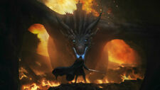 Game Of Thrones Jon Snow Night King Dragon Silk Poster Wallpaper 24 X 13 inches