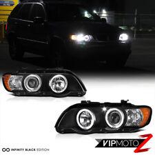 1998-2003 BMW X5 E53 Black LED Halo Angel Eyes Projector Headlight Signal Lamps