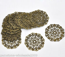 50PCS Wholesale Lots Bronze Tone Filigree Flower Wraps Connectors 35mm GW
