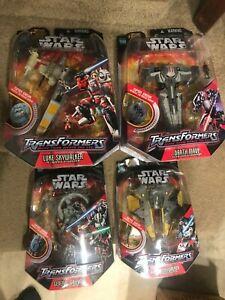 Lot of 4 Star Wars Transformers Luke Anakin Skywalker Grevious Darth Maul FRESH