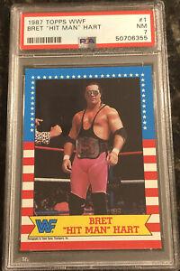 1987 Topps WWF Bret Hit Man Hart #1 RC - PSA 7 - Well Centered! New Case! WWE