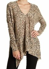 RDI Women's Tie Hem Leopard Tunic Knit Top SIZE LARGE NWT $115