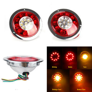 2x 5.5Inch 19 LED Round Car Truck Rear Tail Brake Turn Signal Light Red Yellow