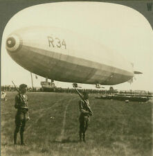 British Airship - Dirigible - R-34 at Minneola - 1919 - WW1 Stereoview