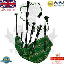 Scottish Great Highland Bagpipes Silver Mounts Black Finish Tutor Book Dudelsack